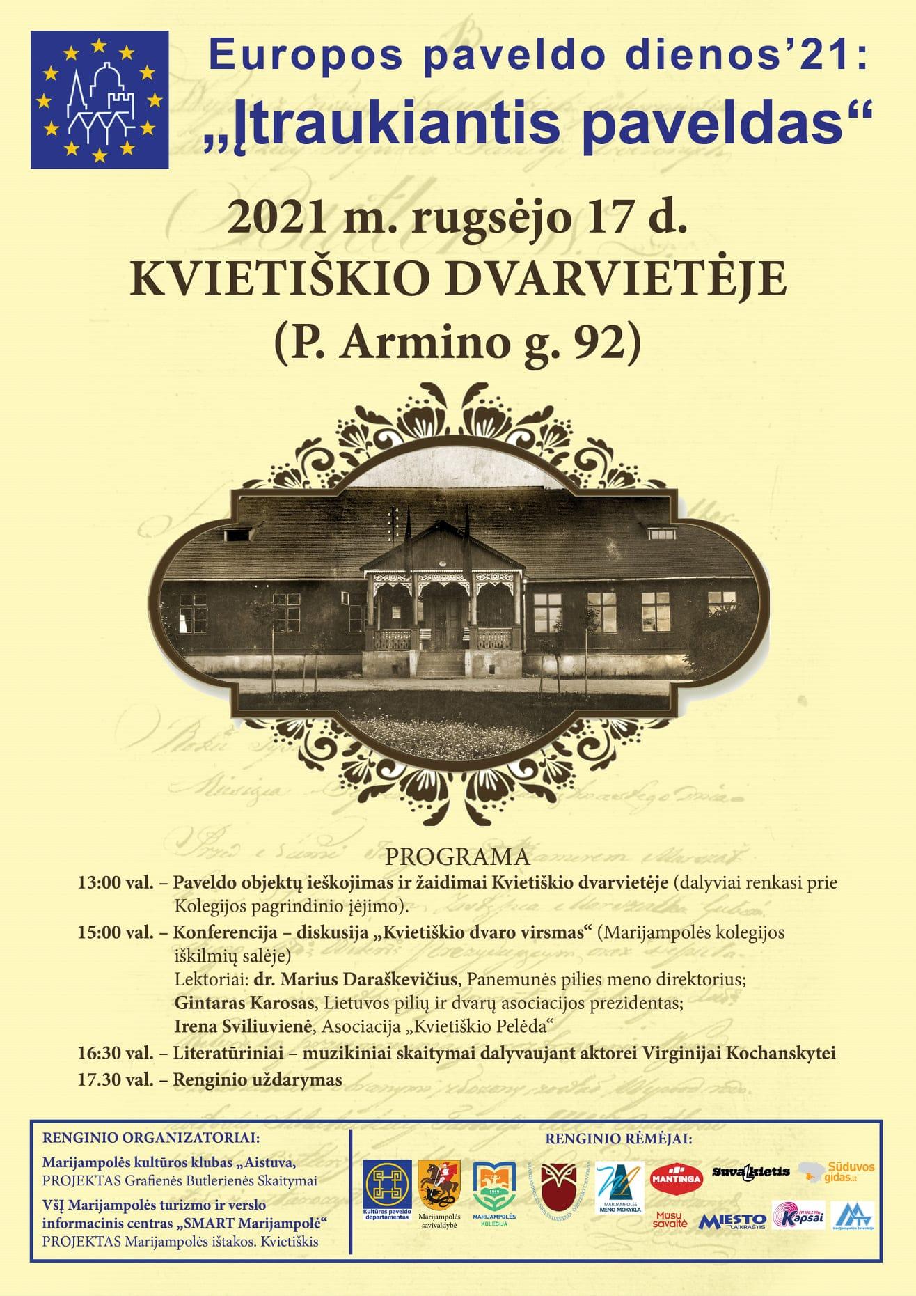 Read more about the article Kvietiškio dvarvietėje organizuojamas Europos paveldo dienų'21 renginys